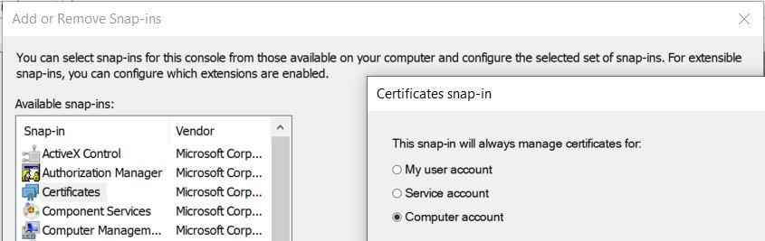 MMC Certificate managment