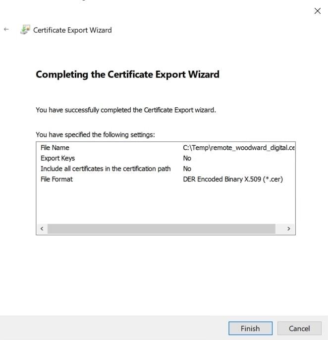 Export Certificate Wizard